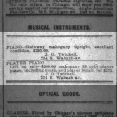 Steinway Piano Classified Ad in 1912