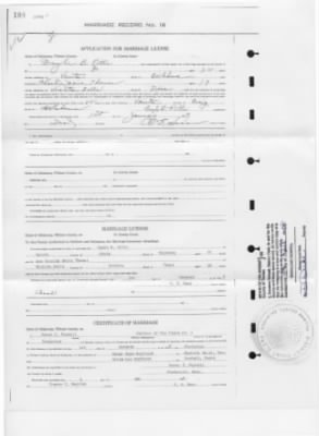 Doyle & Charlie Pitts' marriage certificate