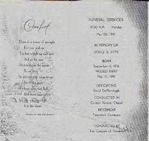 Doyle B. Pitts funeral card