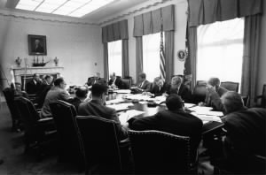 President Kennedy meets during Cuban Missile Crisis