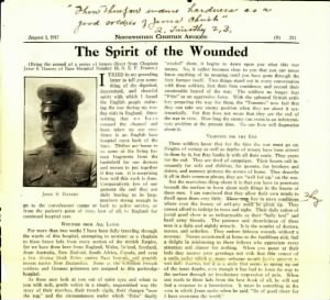 Letter from Chaplain Jesse Dancey WWI