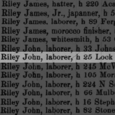 Riley John, laborer, h 25 Lock