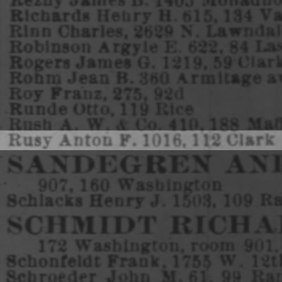 Rusy, Anton 1902 Chicago City Directory