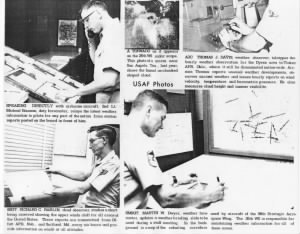 Newspaper article (bottom) on Dyess AFB Weather Station, August 11, 1967