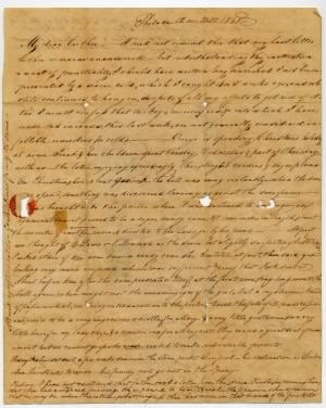 1838 Letter describing Christmas in Philadelphia