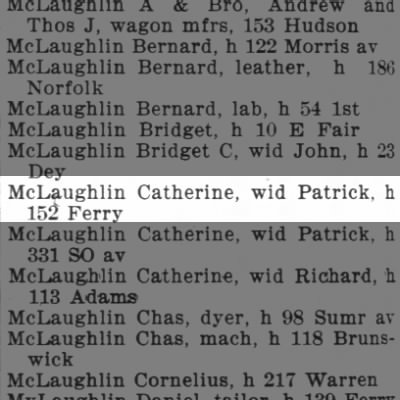 McLaughlin Catherine, wid Patrick, h 152 Ferry