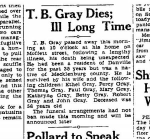Thomas B Gray obit