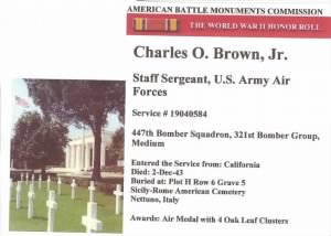 Charles O Brown, Jr. 447thBS (WW II) MTO War-Diary (shot-down)