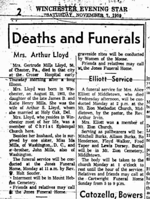 Obituary of Gertrude V. Mills Lloyd