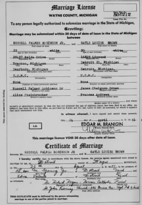 marriage liscense for russell p robinson and gayle louise brown.jpg - Fold3.com
