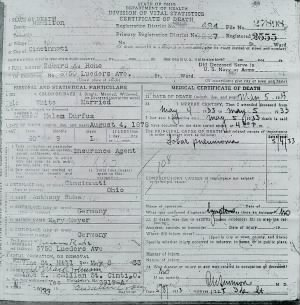 Death Certificate of Edward Rohe