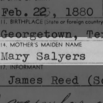 Mary Salyers Mother of Henry Beaumont Reed