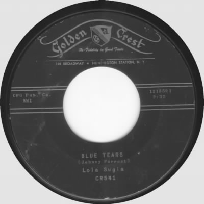 Blue Tears was recorded in Seattle at Joe Boles Recording Studio, on the Golden Crest record label. Musicians on the recording are Lola Sugia on vocals, Joe Adams on alto sax, Phil Odle on piano, Norm Hoagy on vibes, Keith Purvis on drums and Al Wied on bass.