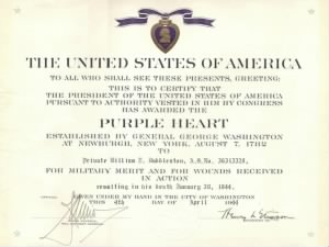 Purple Heart Certificate - PVT William Joseph Duddleston