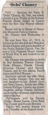 F.H. Chaney Obit