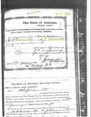 Clements Goldsmith, Angeline J 1873 marriage to W H Goldsmith.png