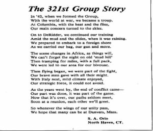 321st Bomb Group Poem written by Sgt Salvatore A Orio, Jr.