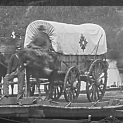 Wagon with the insignia of the 18th Corps.