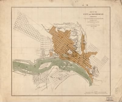 map of the city of richmond virginia from a survey by i h adams ist u s coast survey 1858 with additions from smith s map of henrico county