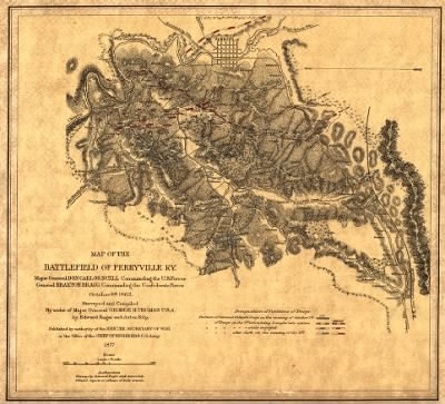 Map of the battlefield of Perryville, Ky. Major General Don Carlos Buell commanding the U.S. forces, General Braxton Bragg commanding the Confederate forces. October 8th 1862. Surveyed and compiled by order of Major General G › Page 1 - Fold3.com