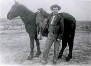 Search Party Member, Samuel S. Miles with his horse -- 1923