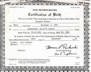 No Name Birth Certif. (Russell Carl Bremmer)