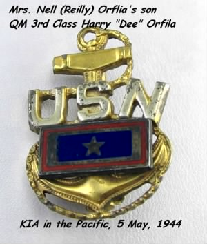 "Harry ""DEE"" Orfila, KIA 5 May,1944 US Navy"