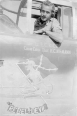 "Lt Ernie Rice in his Combat Ship B-25 ""Rebel Devil"" MTO WWII"