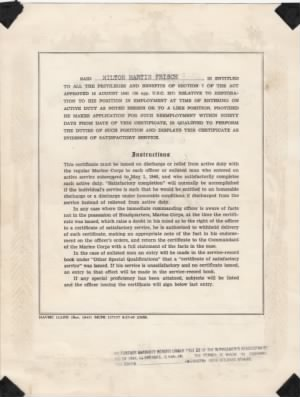 US Marine Corps Certificate of Service for Milton Martin Frisch (side 2)