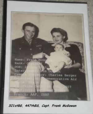 "Capt Frank McGowan with his ""Southern Belle"" wife and his child /War DVD"