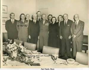 Col Paul attended Thanksgiving with President Dwight Eisenhower, 1954