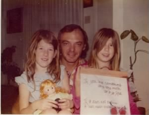 Christmas MORNING, WAYyyyy-too early to have our hair brushed! 1976