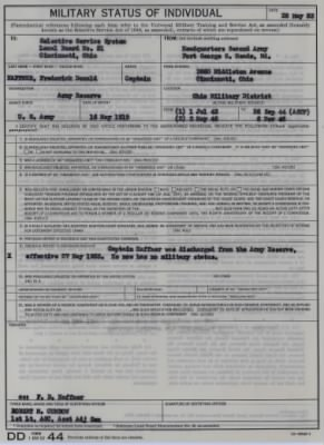 DD Form 44,Military Status of Individual, 28 May 1953
