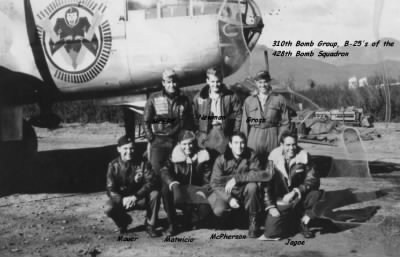 310th Bomb Group, 428th Bomb Squadron, Pilot Lt Edward Maurer with his CREW, 1944 - Fold3.com