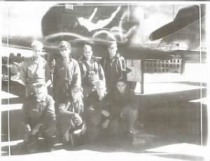 Dino with the 446th BS B-25 Ship, Lemmon Lu