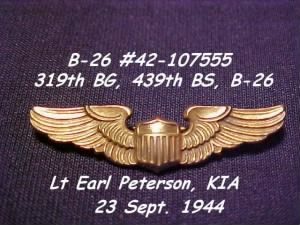 319thBG,439thBS, Lt Earl Peterson, PILOT was shot-down, KIA 23 Sept.'44