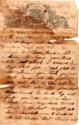 JH Shafer Civil War Letter 1863 pg 1