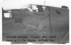 321stBG,448thBS, Herbert Rodgers, shot-down in B-25 TROUBLE #41-13209 31 Mar.'44