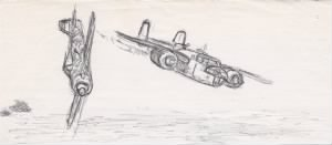 "Lt Doug Orr drawing of ""TRIGGER Shot-Down at Sea"""