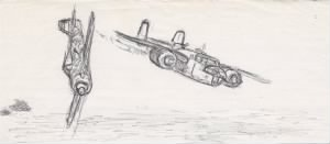 Lt Doug Orr's DRAWING of the Shoot-Down of the TRIGGER, B-25 #41-13171