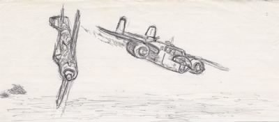 Lt Doug Orr's DRAWING of the Shoot-Down of the TRIGGER, B-25 #41-13171 - Fold3.com