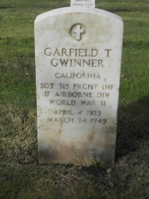 Garfield Gwinner headstone