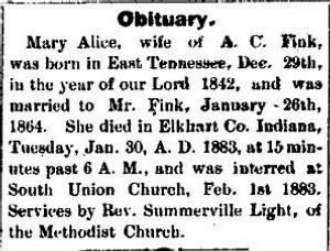 Mary Alice Chamberlain Fink 1883 Death Notice.JPG