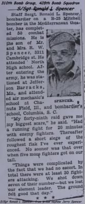 Des Moines Register Newspaper /Ronald has completed 50 Combat Missions in the MTO -B-25's
