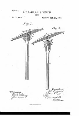 J.G. Robbins, Patent, April 28, 1885 PICK