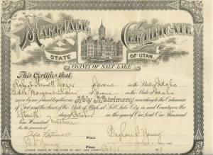 Robert Sterrett Frazer Jr & Edith Margaret Raver Marriage Certificate