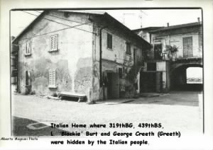 Italian home where the 2 shot-down flyers were hiden, Lawrence Burt and George Creeth
