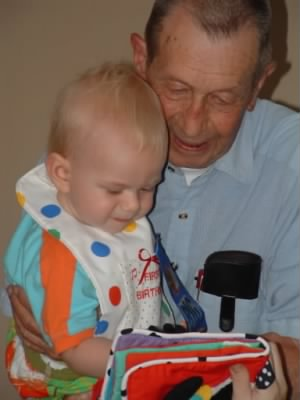 Daddy John with great-grandchild, Matthew Rostan