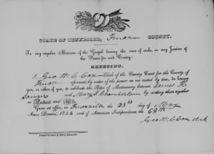 Mary Jones Chamberlain to J H Sawyers 1844 Marr License.jpg