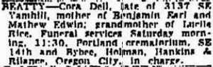 Cora Dell Beatty 1948 Funeral Notice.JPG